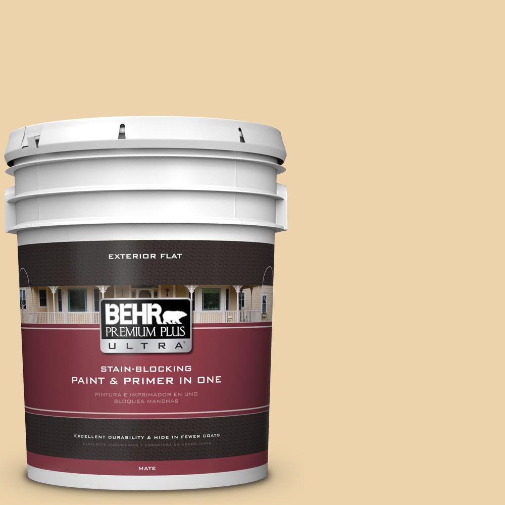 BEHR Premium Plus Ultra 5-gal. #ICC-51 Sweet Marzipan Flat Exterior Paint