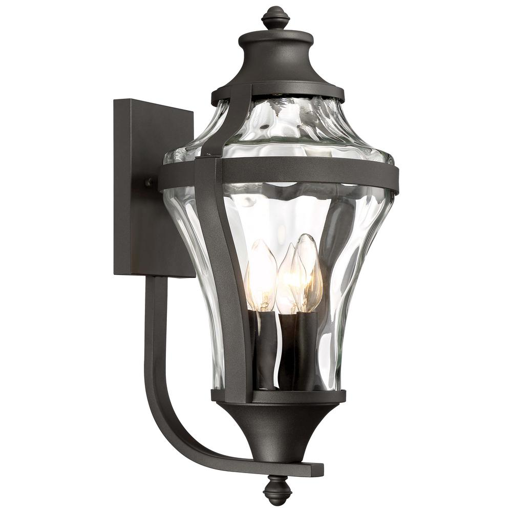 Minka Lavery Libre Collection 4-Light Black Outdoor Wall Mount Lantern with Clear Water Glass