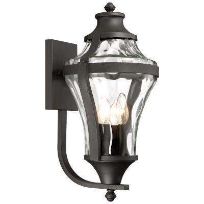Libre Collection 4 Light Black Outdoor Wall Mount Lantern With Clear Water Gl