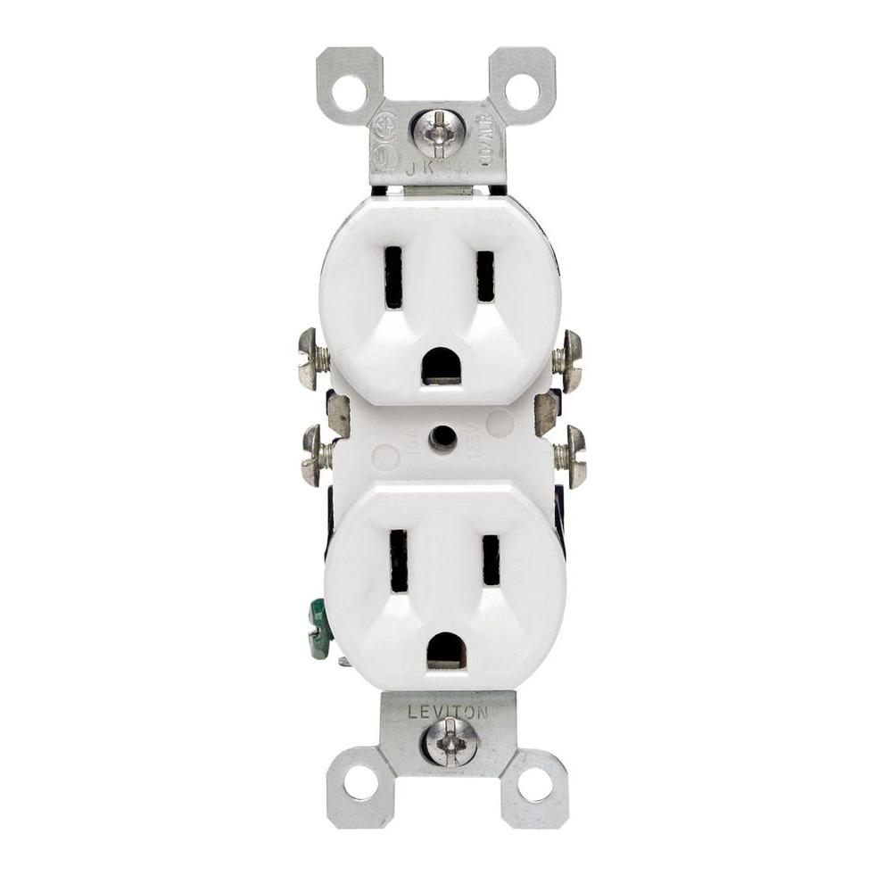 Leviton 15 Amp Duplex Co Alr Outlet White 12650 W The Home Depot