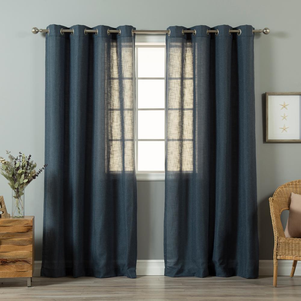 84 in. L Indigo Blue Linen Blend Curtain Panel (2-Pack)