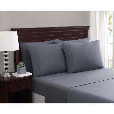 Everyday Cotton Blend Sheet Sets Dark Gray 6-Piece King Sheet Set