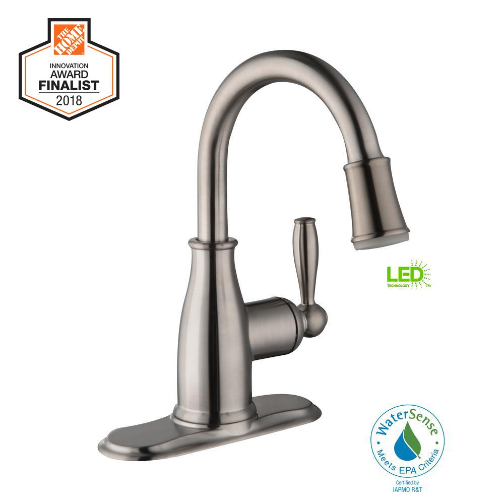 Glacier Bay Mandouri Single Hole Single-Handle LED High-Arc Bathroom Faucet in Brushed Nickel