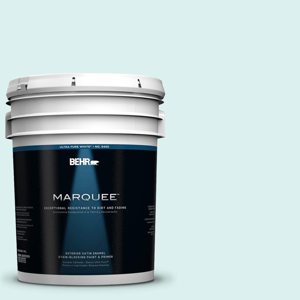 BEHR MARQUEE 5-gal. #500C-2 Aqua Pura Satin Enamel Exterior Paint