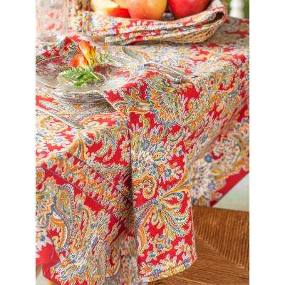 "Rhapsody Red Paisley 60"" x 108"" Rectangular Tablecloth"