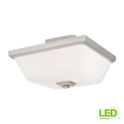 Ellis Harper 13 in. 2-Light Brushed Nickel Semi-Flush Mount with Etched White Glass Shade and LED Light Bulbs