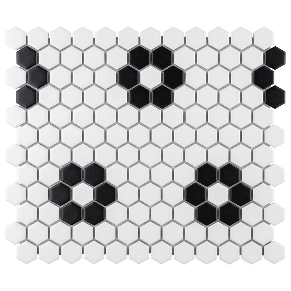 Merola Tile Metro Hex Matte White with Flower 10-1/4 in. x 11-3/4 in. x 6mm Porcelain Mosaic Tile (8.56 sq. ft. / Case)