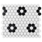 Metro Hex Matte White with Flower 10-1/4 in. x 11-3/4 in. x 6mm Porcelain Mosaic Tile (8.56 sq. ft. / Case)