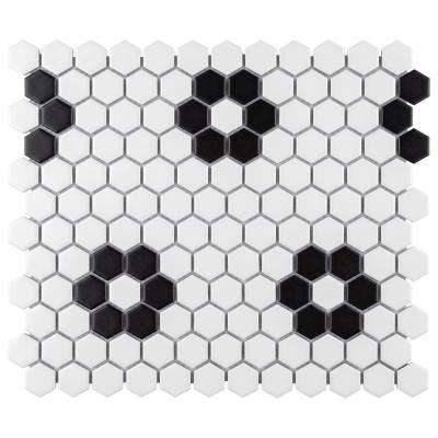 Metro Hex Matte White with Flower 10-1/4 in. x 11-3/4 in. x 6 mm Porcelain Mosaic Tile (8.56 sq. ft. / case)