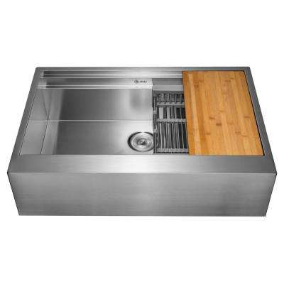 All-in-One Apron Mount Stainless Steel 33 in. Single Bowl Kitchen Sink with Cutting Board and Tray