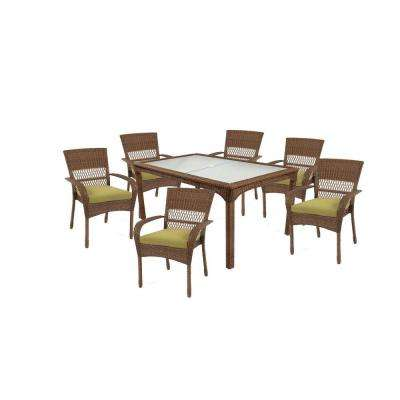 Charlottetown Brown 7-Piece All-Weather Wicker Outdoor Patio Dining Set with Green Bean Cushions