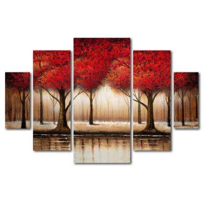 """40 in. x 58 in. """"Parade of Red Trees"""" by Rio Printed Canvas Wall Art"""