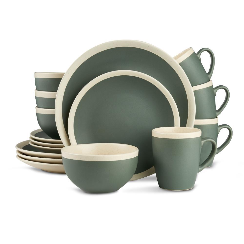 16-Piece Stoneware Round Dinnerware Set Service for 4 2-Tone Speckled Green and Cream