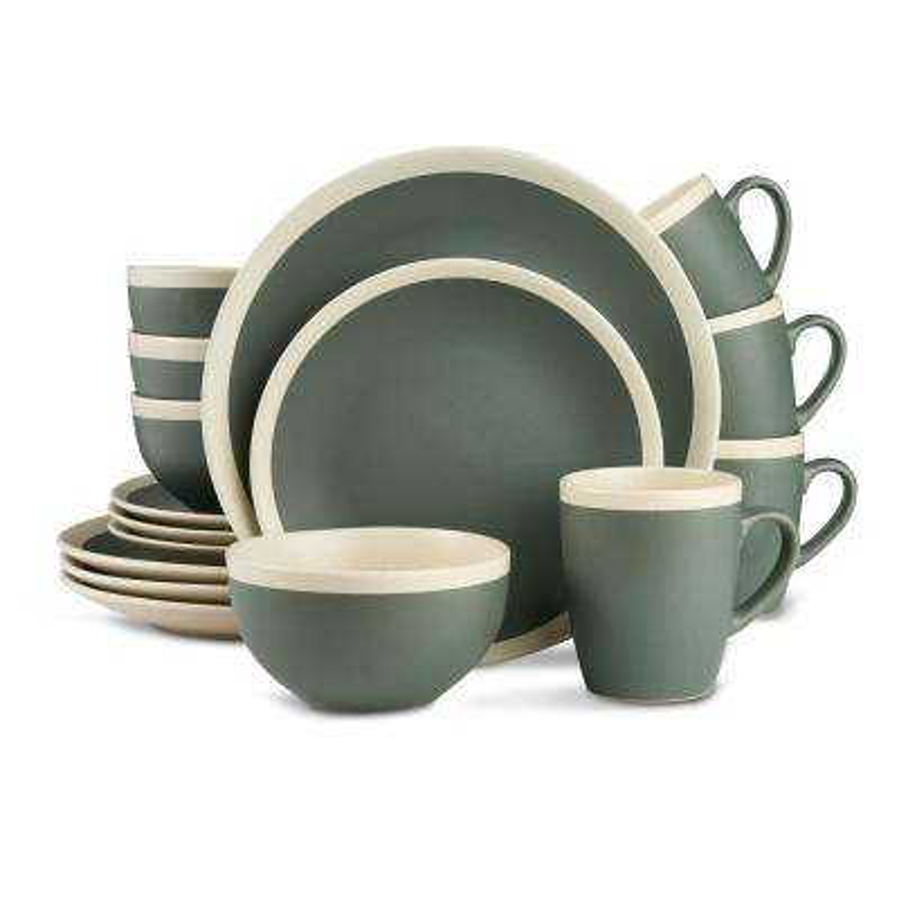 16-Piece Modern Green and Cream Stoneware Dinnerware Set (Set for 4)