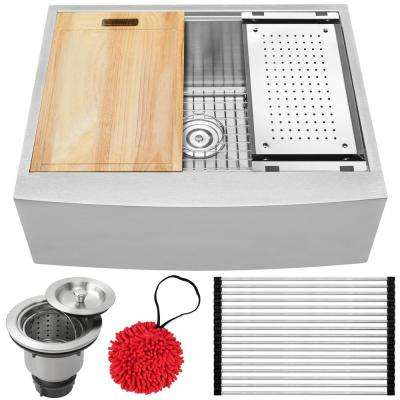 Bryce Zero Radius Farmhouse Apron Front 16-Gauge Stainless Steel 27 in. Single Basin Kitchen Sink with Accessory Kit