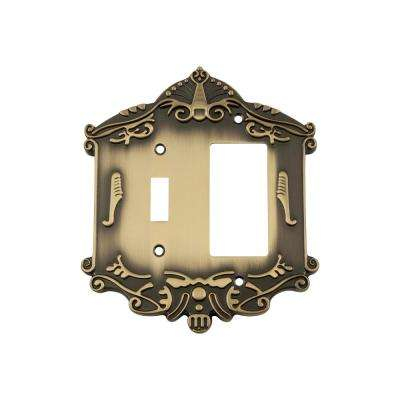 Victorian Switch Plate with Toggle and Rocker in Antique Brass