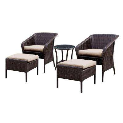 Bryant 5-Piece Aluminum and Wicker Outdoor Seating Set With Beige Cushions