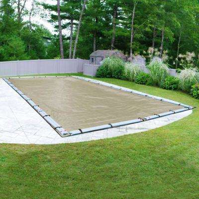 Premium 18 ft. x 36 ft. Pool Size Rectangular Tan Solid In-Ground Winter Pool Cover