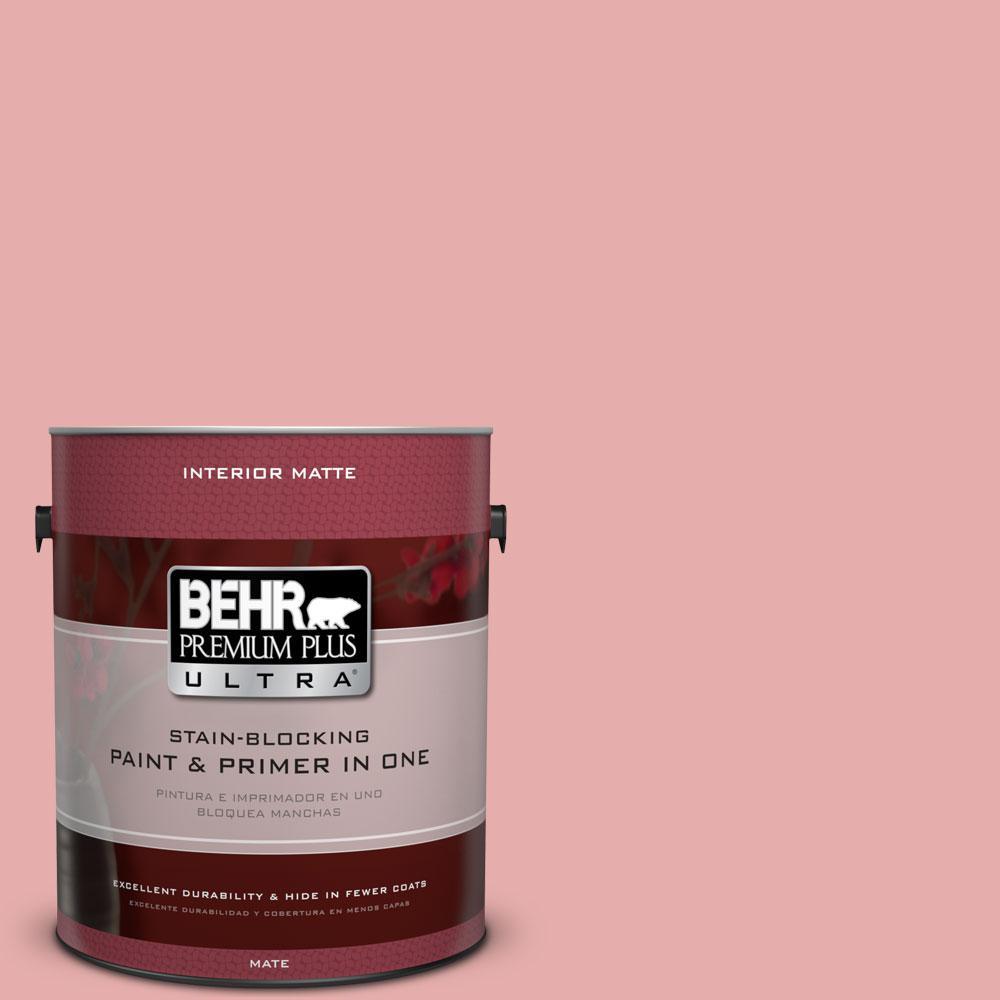 BEHR Premium Plus Ultra 1 gal. #160C-3 Rose Silk Matte Interior Paint and Primer in One
