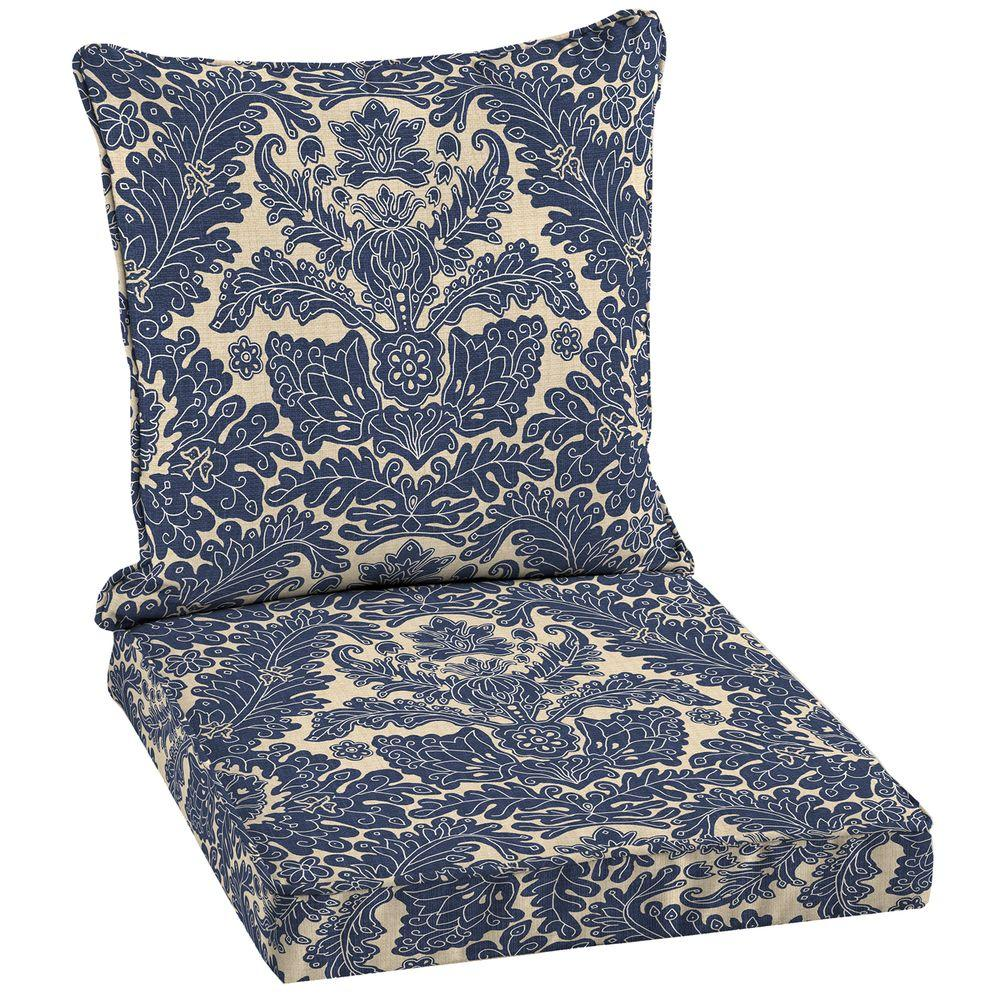 Hampton Bay Chelsea Damask Welted Outdoor Dining Seat Cushion Set