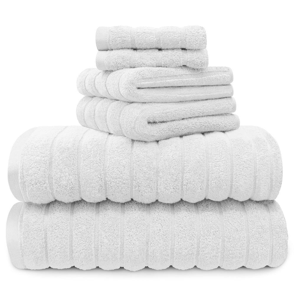 100% Cotton 6-Piece Spa Towel Set in White