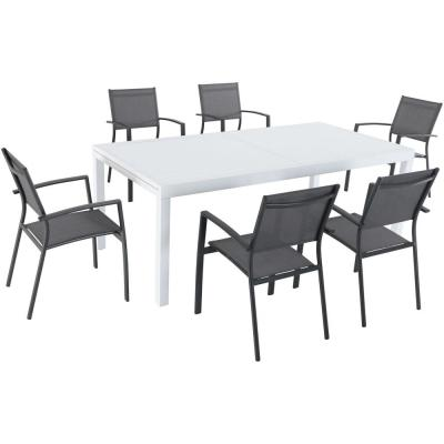 Del Mar 7-Piece Aluminum Outdoor Dining Set with 6 Sling Chairs in Gray and a 40 in. x 118 in. Expandable Dining Table