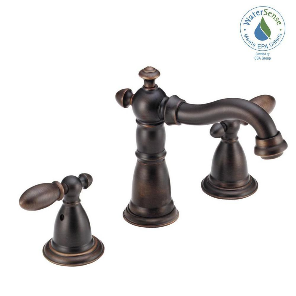Delta Bathroom Faucets.Delta Victorian 8 In Widespread 2 Handle Bathroom Faucet With Metal Drain Assembly In Venetian Bronze