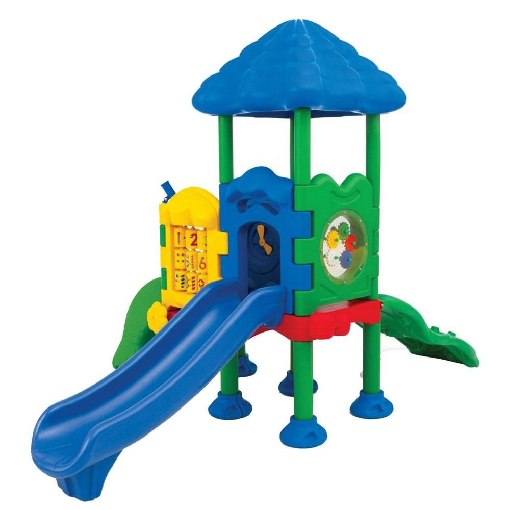 Ultra Play Discovery Center Commercial Playground 2 Deck with Roof Ground Spike Mounting