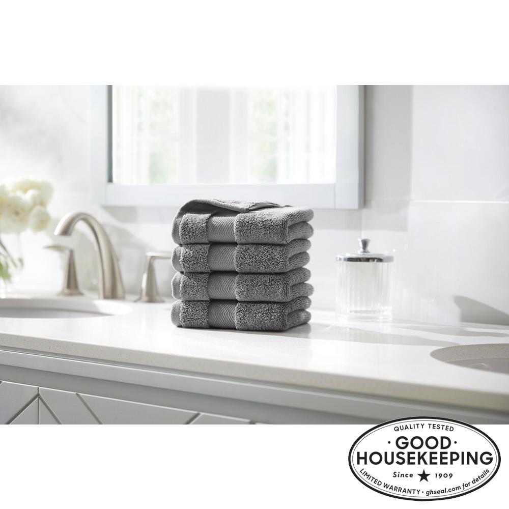 Plush Soft Cotton Wash Cloth in Stone Gray (Set of 4)