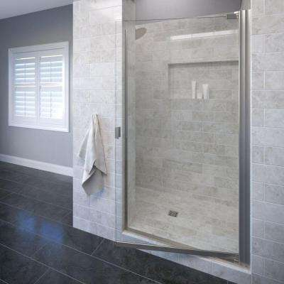 Classic 25-1/8 in. x 66 in. Semi-Frameless Pivot Shower Door in Brushed Nickel