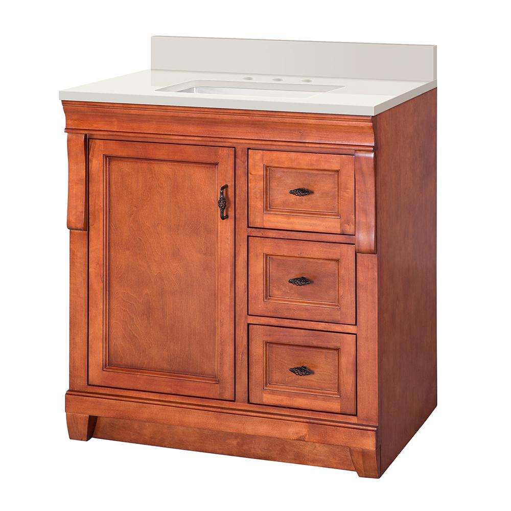 Home Decorators Collection Naples 31 in. W x 22 in. D Vanity in Warm Cinnamon with Engineered Marble Vanity Top in Winter White with White Sink