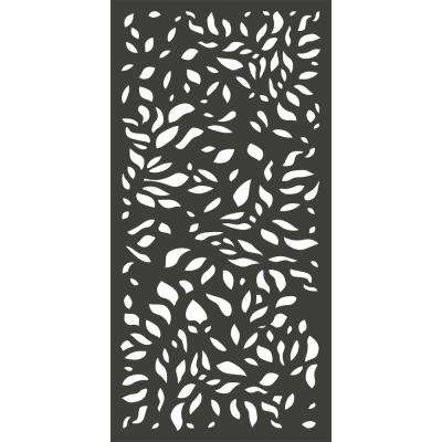 6 ft. x 3 ft. Charcoal Gray Modinex Decorative Composite Fence Panel Featured in the Botanical Design