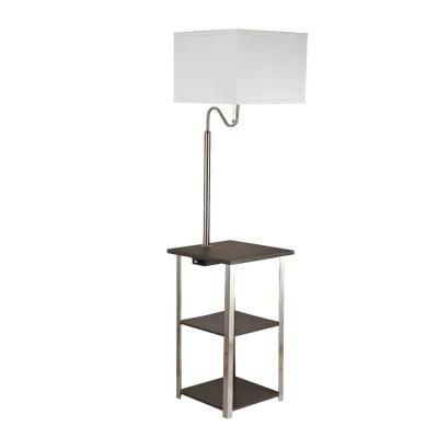 Dru 58 in. Brush Silver Floor Lamp with Charging and USB Station