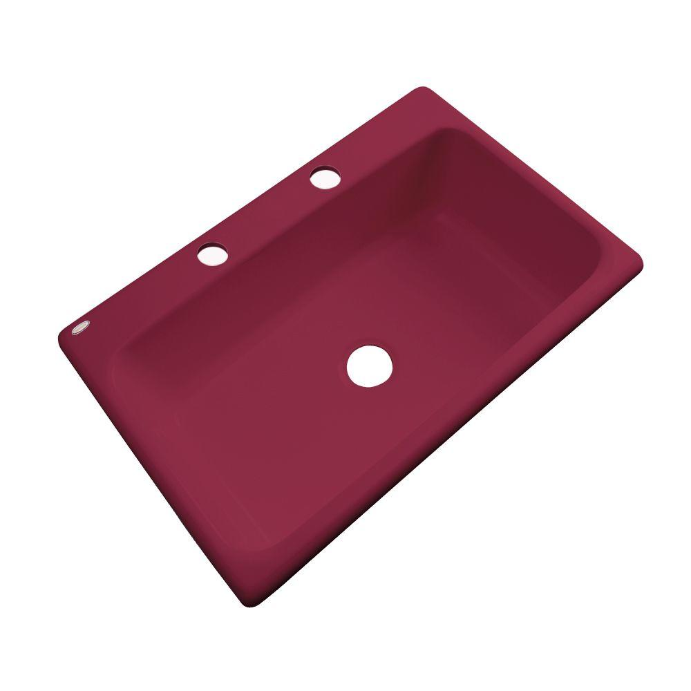 Thermocast Manhattan Drop-In Acrylic 33 in. 2-Hole Single Basin Kitchen Sink in Ruby