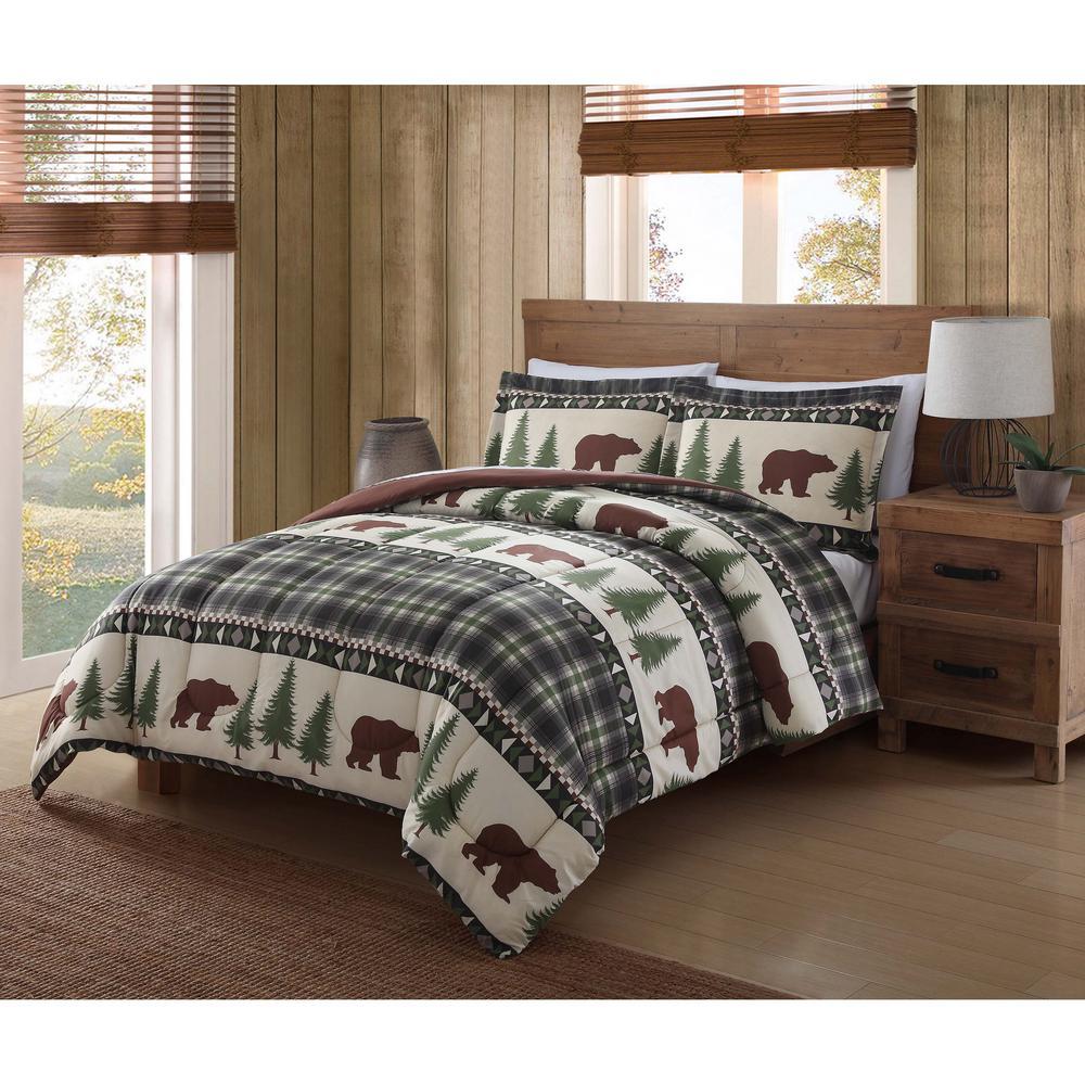 Remington Boucher Woods Green Queen Comforter Set CS1270FQ 1500   The Home  Depot
