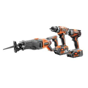 Deals on RIDGID 18-Volt Lithium-Ion Cordless 3-Tool Combo Kit R96121