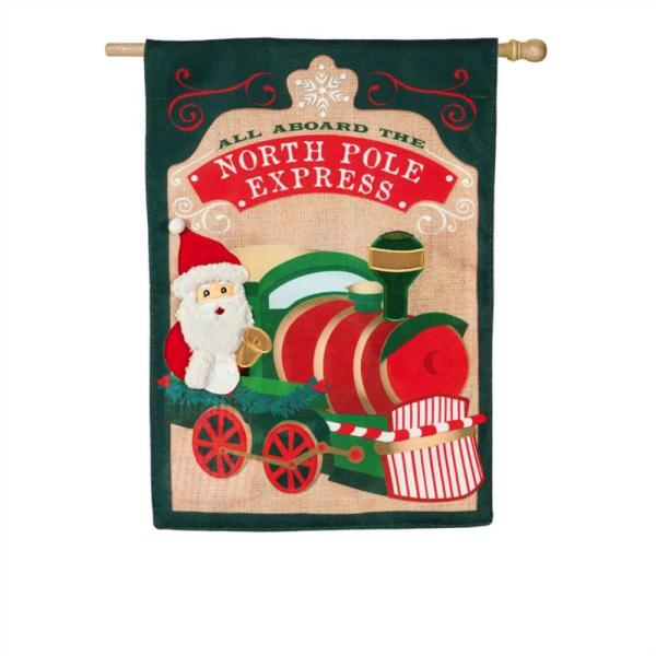 Evergreen 28 In X 44 In North Pole Express House Burlap Flag 13b9363 The Home Depot