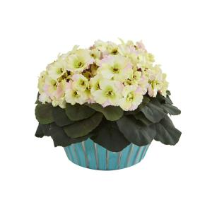 9 in. African Violet Artificial Plant in Turquoise Vase