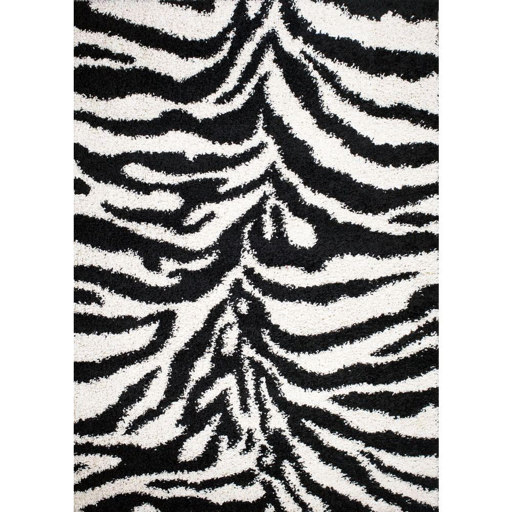 Concord Global Trading Shaggy Zebra Black 3 ft. 3 in. x 4 ft. 7 in. Area Rug