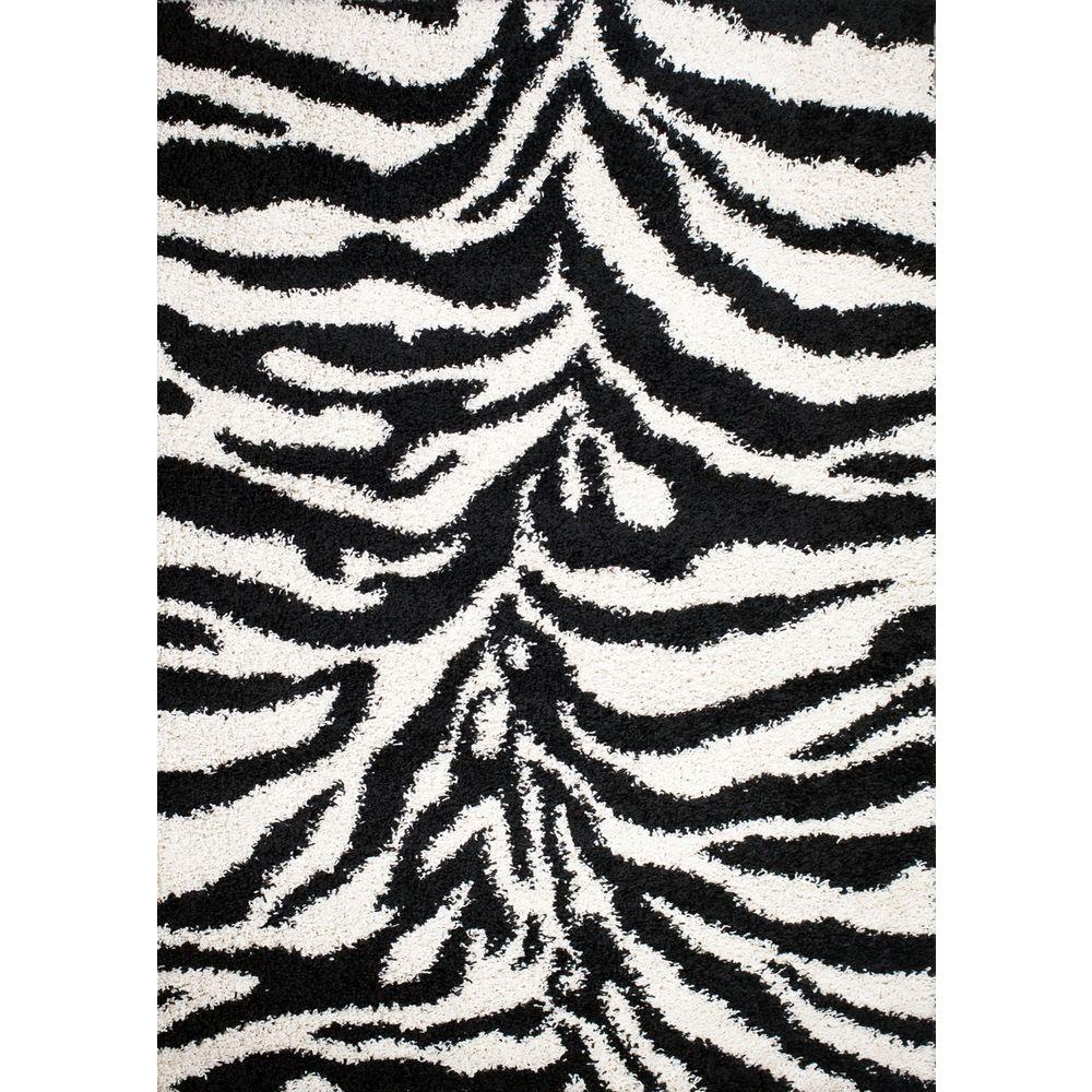 Shaggy Zebra Black 7 ft. x 9 ft. Area Rug