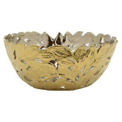 13 in. x 13 in. Decorative Pierced Gold Ceramic Bowl