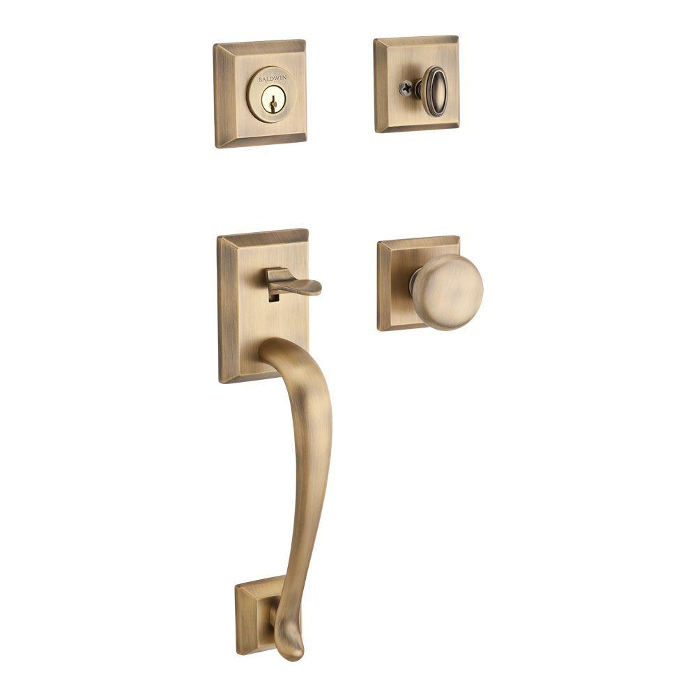 Baldwin Napa Single Cylinder Matte Brass And Black Traditional Square Door  Handleset With Round Knob And