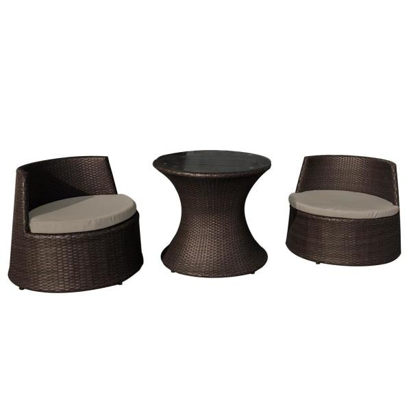 Oasis Resin Wicker-Style 3-Piece Plastic Chat Set Black for Outdoor Use with Included Cushions