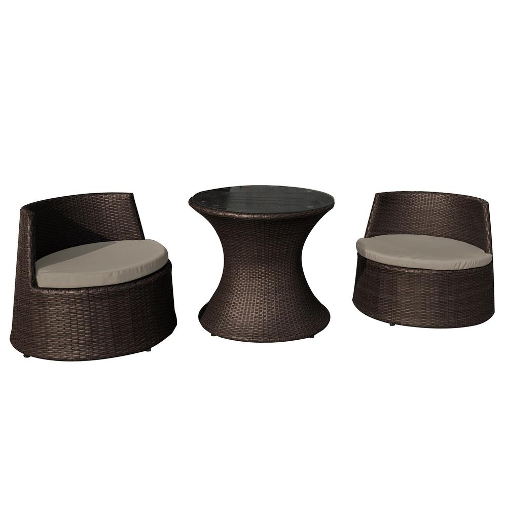 Incredible Island Retreat Oasis Resin Wicker Style 3 Piece Plastic Chat Set Black For Outdoor Use With Included Cushions Home Interior And Landscaping Ferensignezvosmurscom