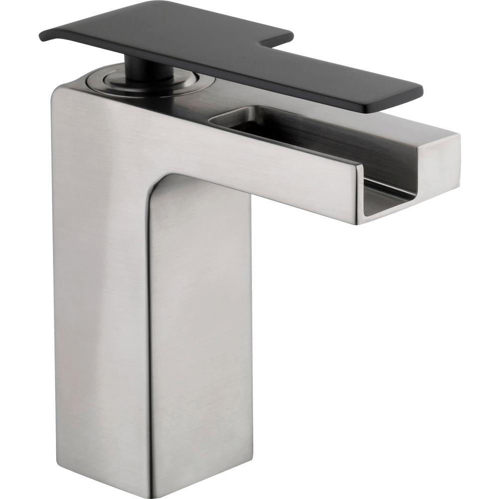 Femke Single Hole Single-Handle Low-Arc Bathroom Faucet in Brushed Nickel and Matte Black