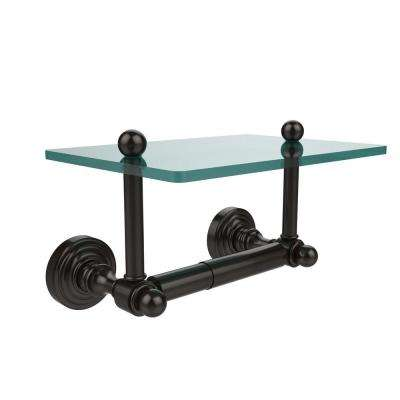 Waverly Place Collection Double Post Toilet Paper Holder with Glass Shelf in Oil Rubbed Bronze