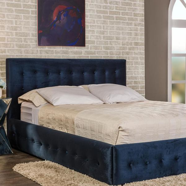04b1cd8dc1d7 Baxton Studio Morgan Transitional Blue Fabric Upholstered Queen Size Bed  28862-6218-HD - The Home Depot