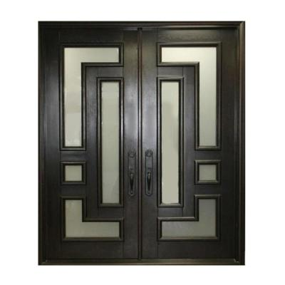 61.5 in. x 81 in. 2-Panel Right-Hand/Inswing Full Lite Frosted Glass Matte Black Finished Iron Prehung Front Door