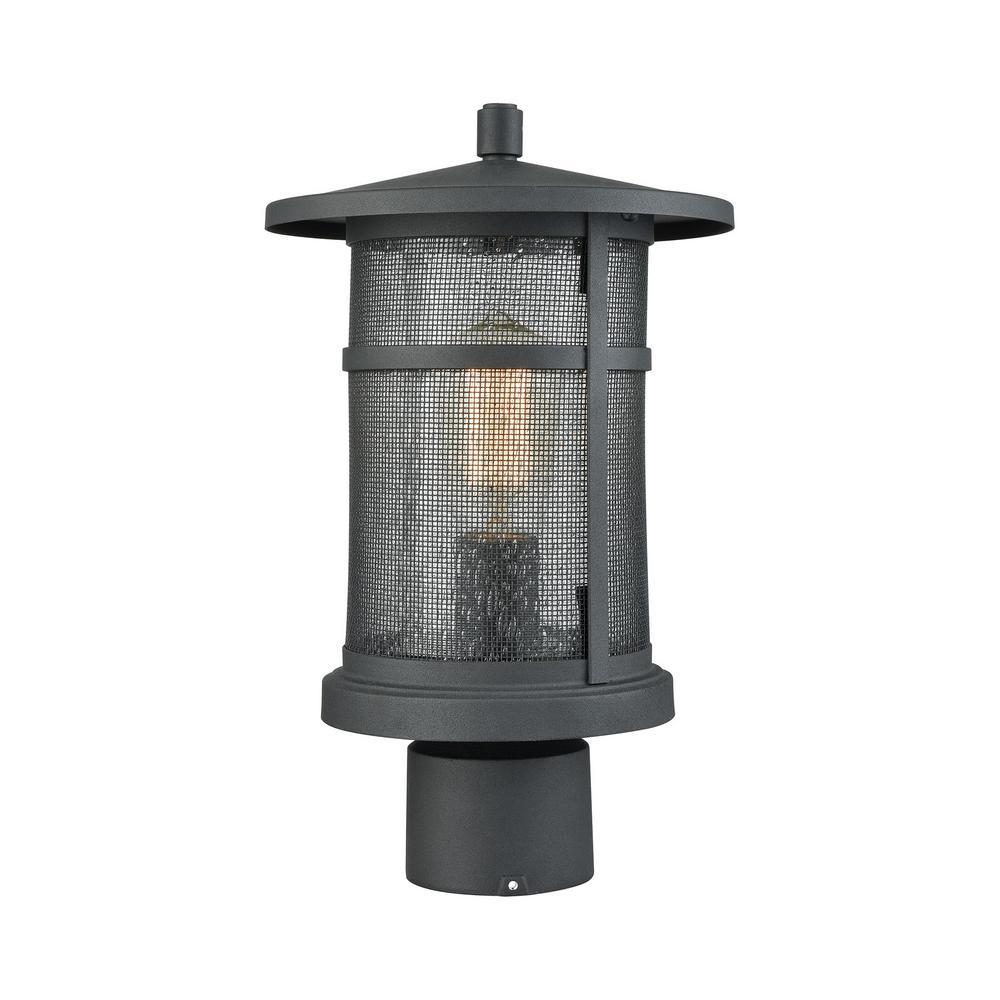Aspen Lodge 1-Light Outdoor Textured Matte Black Post Light