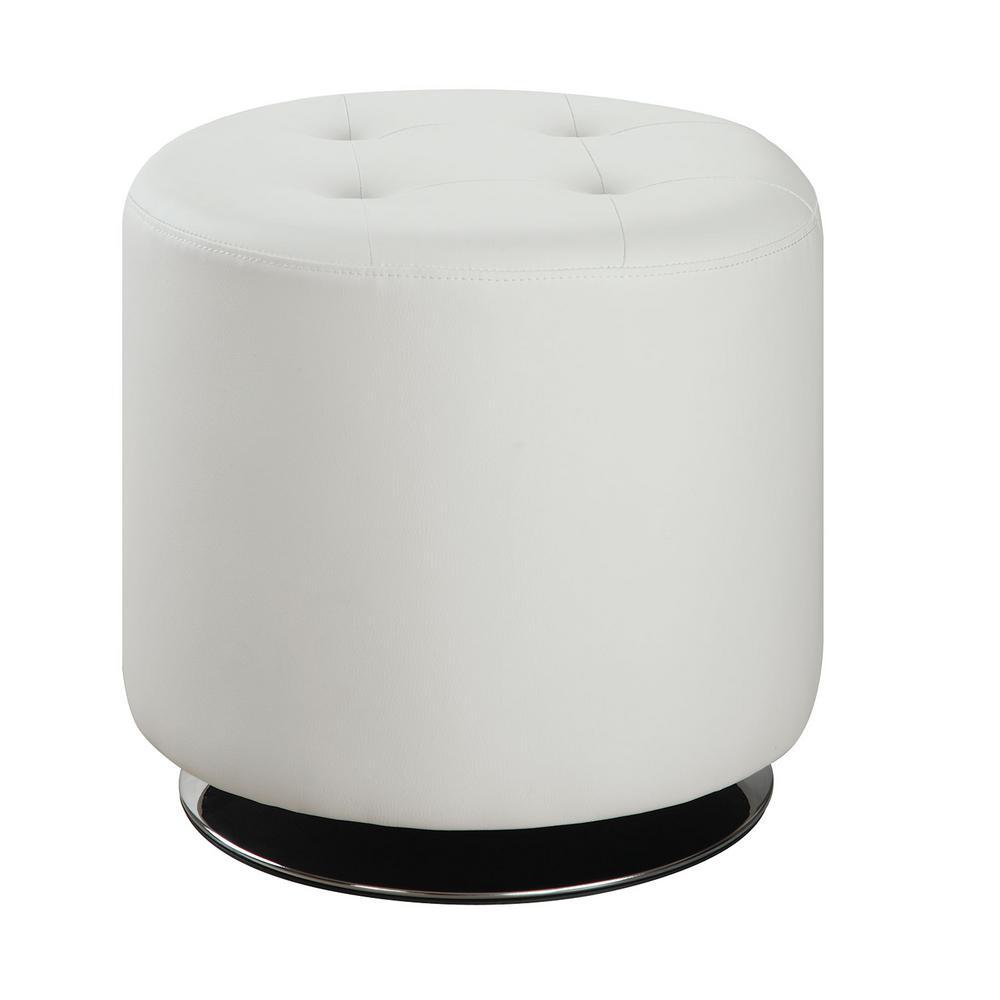 Round Upholstered Ottoman White